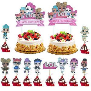 KRUCE 22 Pcs LOL Cake Topper,LOL Happy Birthday Party Supplies Cupcake Topper for Kids Decor 61CDMCxTP4L