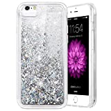 iPhone 6S Plus Case, Caka Flowing Liquid Floating Luxury Bling Glitter Sparkle Soft TPU Case for iPhone 6 Plus/6S Plus/7 Plus/8 Plus (5.5 inch) - (Silver)