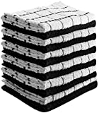 Kitchen Towels (12 Pack, 15X25 Inch) 100% Premium Cotton, Machine Washable Extra Soft Set of 12 Black and White Dobby Weave Kitchen Dish Cloths, Tea Towels, Bar Towels - By Utopia Towels