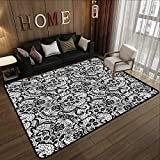 Durable Rubber Floor Mat,Gothic Decor Collection,Lace Pattern with Flowers and Floral Classic Handwork Needlecraft Style Art,Black and White 63'x 94' Non-Slip Modern Carpet