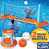 """Inflatable Pool Float Set Volleyball Net & Basketball Hoops; Balls Included for Kids and Adults Swimming Game Toy, Floating, Summer Floaties, Volleyball Court (105""""x28""""x35"""")