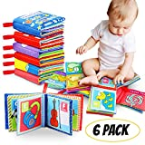 Tencoz Cloth Book Baby, Baby's First Non-Toxic Soft Cloth Book Set Infant Children Educational Toys Baby Gifts for Boy Girl Colorful-Pack of 6 (Friction with a rustling Sound)