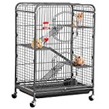Yaheetech 37'' Metal Ferret Cage Indoor Outdoor Small Animals Hutch w/ 2 Front Doors/Feeder/Wheels for Large Rat Guinea Pig Chinchilla Sugar Glider,Black
