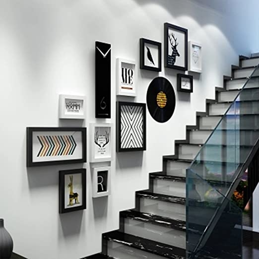 Amazon Com Picture Frames Creative Personality Wall Clock Duplex | Duplex House Staircase Wall Design | Contemporary | Textured | Apartment Duplex | Fancy | Stair Wall Paint
