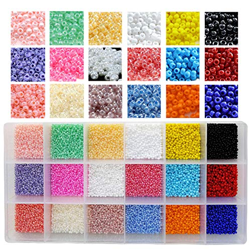 BALABEAD 21600pcs in Box 18 Multicolor 12/0 Glass Seed Beads Loose Spacer Beads,2mm Seed Beads, Hole 0.6mm (1200pcs/Color, 18 Colors)
