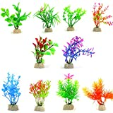 10 Pack Artificial Aquarium Plants, Small Size 4 to 4.5 inch Approximate Height Comsun Fish Tank Decorations Home Décor Plastic Assorted Color