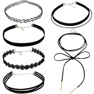 MJSCPHBJK 6 Pieces Choker Necklace Set Stretch Velvet Classic Gothic Tattoo Lace Choker Necklaces, Black (6Pieces)