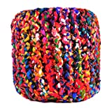 "Product review for Pouf Ottoman Multicolor Cylindrical Shape Hand Knitted Dori ottoman Cable Style Cotton Braided Rope Floor Ottomans Comfortable Seat Footstool 19""x 20"" By MystiqueDecors"