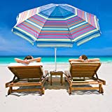 Abba Patio 7 Ft Adjustable Beach Umbrella with Sand Anchor, Easy Push Button Tilt and, Carry Bag, 7', Multicolor