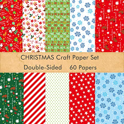 FEPITO 60 Sheets Christmas Pattern Paper Set, 14 x 21cm Decorative Paper for Card Making Scrapbook Decoration, 10 Designs
