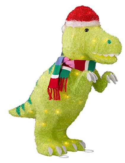 Lighted Tinsel Dinosaur With Santa Hat And Scarf Indoor Outdoor Decor 28