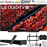 LG OLED55C9PUA 55' C9 4K HDR Smart OLED TV w/AI ThinQ (2019) w/Soundbar Bundle Includes, Deco Gear Home Theater Surround Sound 31' Soundbar, Flat Wall Mount Kit for 45-90 inch TVs and More