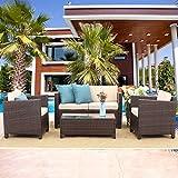 Wisteria Lane Outdoor Patio Furniture Set,5 Piece Conversation Set Wicker Sectional Sofa Loveseat Chair Brown Wicker,Beige Cushions