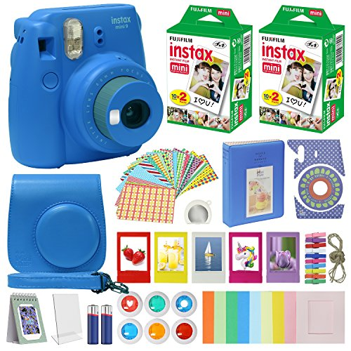 Fujifilm Instax Mini 9 Instant Camera With with 40 Sheets of Instant Film, Custom Mini 9 Case with Strap, Photo Album, Assorted Frames , 6 Color Filters And More Best Value Bundle …
