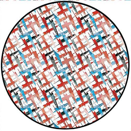 Short Plush Floor mat/Rug Grunge Graffiti Patterns Street Art Spray Paint Chaos of Colors Artwork Red Blue Non-Slip Machine Washable 66.9' x 66.9' Round