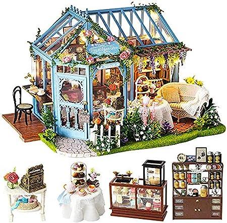 CUTEBEE 家具付きミニチュア、DIYドールハウスキット、子供用防塵および音楽ムーブメントギフト(並行輸入品)