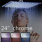 WEIXINTECH LED Shower-Head Stainless Steel Showerhead Bathroom Shower Faucet Head Rain Ultrathin Shower Head Set Rainfall (24 inch)