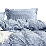 Wake In Cloud - Washed Cotton Duvet Cover Set, White Striped Ticking Pattern Printed on Navy Blue, 100% Cotton Bedding, with Zipper Closure (3pcs, California King Size)