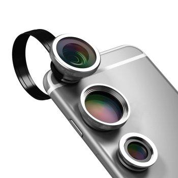 dodocool 3-イン-1 カメラレンズキット クリップ式 180°魚眼レンズ 0.67X 広角レンズ 10X マクロレンズ iPhone Android スマートフォン用