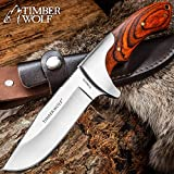 Timber Wolf Blazin Bowie Knife with Sheath - Hardwood Handle with Brass Lanyard Hole, Brass Pins - 9
