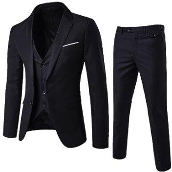 Image result for WEEN CHARM Men's Two Button Notch Lapel Slim Fit 3-Piece Suit Blazer Jacket Tux Vest & Trousers Set