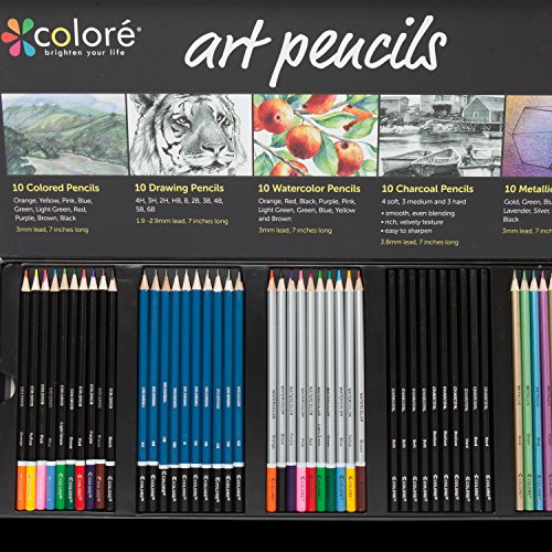 Colore Premium Art Pencils Pack – 50 Assorted Pencil Set for Coloring Pages & Books – Colored, Watercolor, Drawing, Charcoal and Metallic Color Pencils for Students, Kids & Adults School Supplies