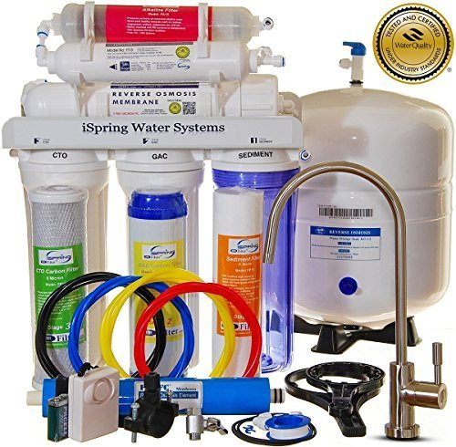 iSpring RCC7AK 6-Stage Superb Taste High Capacity Under Under Sink Reverse Osmosis Drinking Water Filter System with Alkaline Remineralization - Natural pH WQA Gold Seal Certified (NSF/ANSI 58), White