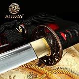 Auway 40' Orchid Tsuba Fully Handmade High Carbon Steel Full Tang Blade Real Japanese Katana Samurai Swords
