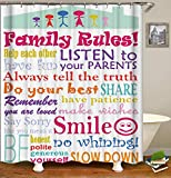 Raymall Family Rules Shower Curtain Child Educational Word Cloud 72x72 Inch Polyester Fabric with Hooks for Boys Kids Bathroom Decor (Family rules)