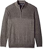 IZOD Men's Big and Tall Newport Marled Quarter Zip 7 Gauge Textured Sweater, Light Grey Heather, 5X-Large