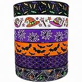 "1"" 30 yards (6 Mixed Lot) Halloween Ribbons Bats Spiders Pattern Printed Grosgrain Ribbon for Hair Bow Halloween Decorative Ribbons (1)"