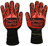 Dragon Knuckle Heat Resistant BBQ Gloves Oven Mitts EN 407 932ºF - Grilling Barbecue Charcoal Grill Tools Kevlar Nomex Cut Resistant - Great Gift