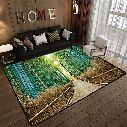 Bath Rugs,Bamboo Forest in Japan Collection,Panoramic View of Historic Landscape Park Photography Print,Light Green Peru 71'x 106' Dining Table Rugs