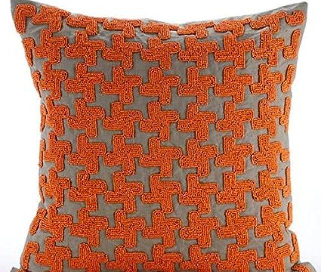 The Homecentric Luxury Orange Throw Pillow Covers Orange Beaded Lattice Trellis Pillows Cover Decorative