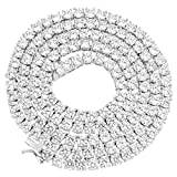 Master Of Bling Iced Out Solitaire Necklace 14k White Gold Finish Lab Diamonds 22 Inch 1 Row 4 MM