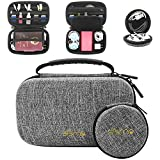 Sisma Travel Cords Organizers Electronics Accessories Carrying Bag for Cables Earbuds Memory USB Sticks Leads, Grey -Bundled Round Pouch SCB17091K-G