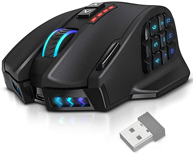 UtechSmart Venus Pro RGB Wireless MMO Gaming Mouse, 16,000 DPI Optical Sensor, 2.4 GHz Transmission Technology, Ergonomic Design, 16M Chroma RGB Lighting, 16 programmable Buttons, Up to 70 Hours