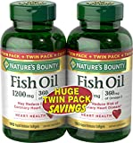 Nature's Bounty Fish Oil 1200 mg Twin Packs, 180-Count per bottle (360 Total Count) Rapid Release Liguid Softgels