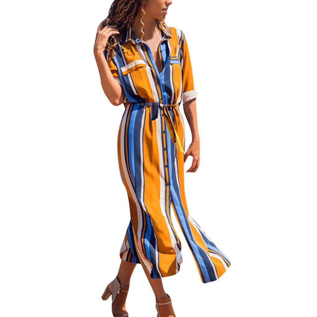 e2391e9564 Amlaiworld Vestido Largo Fiesta Mujer Primavera Verano 2019 Vestido de  Camisa Larga de Manga Larga de Rayas Verticales de Mujer Cintura de Corbata  Vestidos ...