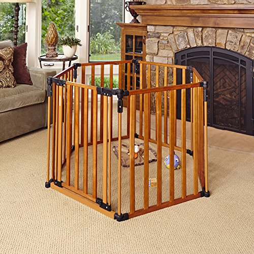 """3-in-1 Wood Superyard"" by North States: Create a free-standing play yard or an extra-wide gate. Hardware mount or freestanding. 6 panels, 10 sq. ft. enclosure (144"" long, 30"" tall, Natural wood)"