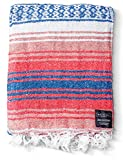 Mexican Blanket Yoga Serape Blankets - Mexican Blanket - Yoga Blanket - Authentic Baja Blanket - Yoga Blankets Mexican Perfect as Beach Blanket, Camping Blanket (Coral)