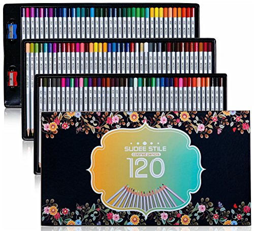 SUDEE STILE Colored Pencils 120 Unique Colors (No Duplicates) Art Drawing Colored Pencils Set with Case with Sharpener