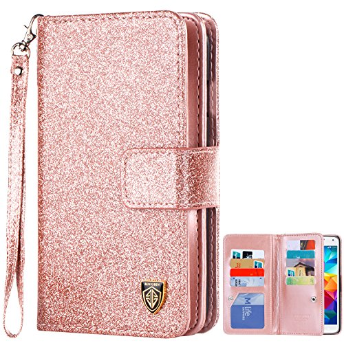 Galaxy S5 Case, S5 Case, Samsung Galaxy S5 Case, BENTOBEN Glitter Sparkle Bling Faux Leather Flip Cover Credit Card Holder Cash Pocket Wristlet Protective Wallet Case for Samsung Galaxy S5, Rose Gold