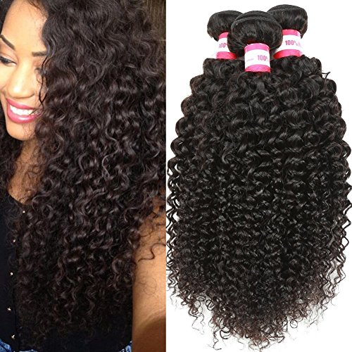 B&P Hair 9A Virgin Brazilian Curly Hair Weave 3 Bundles 100% Unprocessed Virgin Human Hair Extensions 10 12 14inches Natural Black Hair
