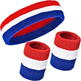 WILLBOND 3 Pieces Sweatbands Set, Includes Sports Headband and Wrist Sweatbands Cotton Striped Sweat Band for Athletic Men and Women (Red, White and Blue)