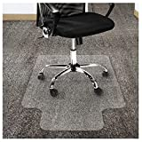Office Marshal Polycarbonate Chair Mat with Lip for High Pile Carpet Floors, 36' x 48' - Multiple Sizes - Clear, Studded, Carpet Floor Protection Mat