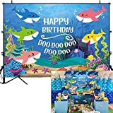 Allenjoy 7x5ft Blue Ocean Shark Family Birthday Party Backdrop Underwater World Baby Boy Photography Background Cartoon Under The Sea Theme Cake Table Banner Photobooth Props