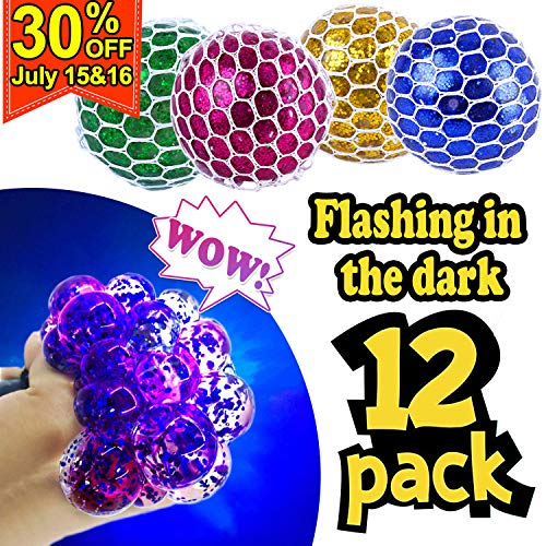 12 PCS [Upgrade] Mesh Stress Ball LED Anti-Stress Ball with Gittler Grape Squeeze Ball Light Up Sensory Fidget Toys for Kids Adults Anxiety ADHD 4th of July Party Favor Girls Boys Birthday Gifts