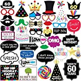 Sterling James Co. 60th Birthday Photo Booth Party Props - 40 Pieces - Funny 60th Birthday Party Supplies, Decorations and Favors