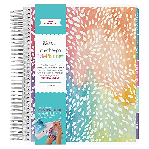 Erin Condren 2019 12 Month (Jan 2019 - Dec 2019) LifePlanner, Painted Petals- Vertical (Colorful Layout)